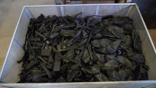 Scrap that we recycle: plastic offcut from the blades in the molding machine.