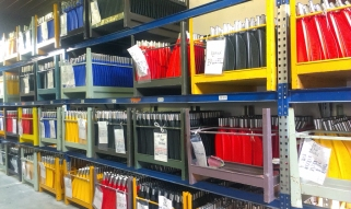 Freshly molded blades are stored in containers…